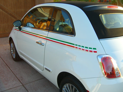 2007-2018 Fiat 500 Italian Side Accent Red and Green Door Stripes Vinyl Graphic Kit