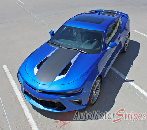 2016 2017 Chevy Camaro 50th Anniversary Heritage Indy 500 Style Center Wide Hood Trunk Spoiler Rally Racing 3M Stripes Kit fits SS RS V6