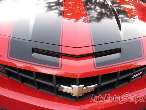 2010-2013 or 2014-2015 Chevy Camaro Bumblebee Style Racing Stripes Rally 3M Vinyl Graphics Kit - SS Intake View