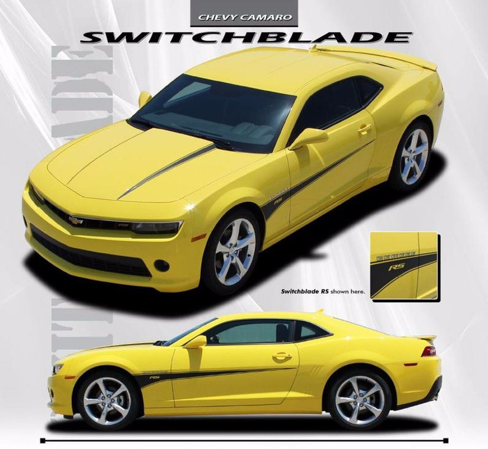 2014 2015 chevy camaro switchblade hood stripes and side door 2010 2013 2014 2015 chevy camaro switchblade hood and side spear vinyl decal graphics for ss rs lt ls models publicscrutiny Gallery