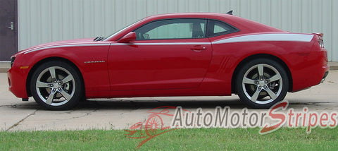2010-2013 and 2014-2015 Chevy Camaro Legacy Yenko Style Side 3M Vinyl Graphics Stripes Kit - Driver Side View