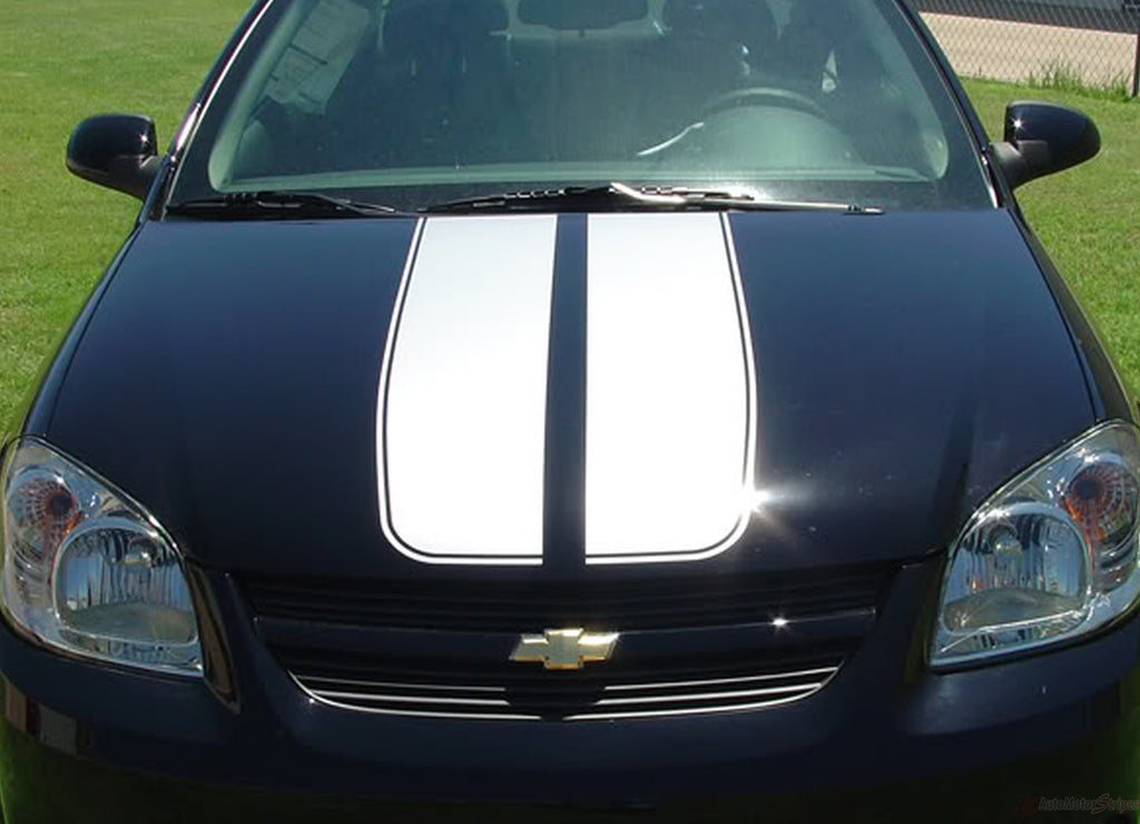 2005-2010 Chevy Cobalt Rally Racing Stripes Kit - Hood, Roof, Trunk, Spoiler Vinyl Graphics 3M Decals