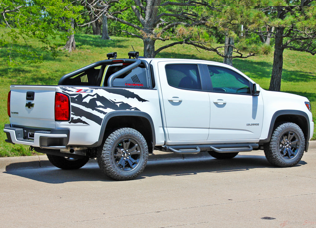 2015-2021 Chevy Colorado Decals ANTERO Stripes Rear Side Truck Bed Mountain Scene Vinyl Graphics 3M Kit