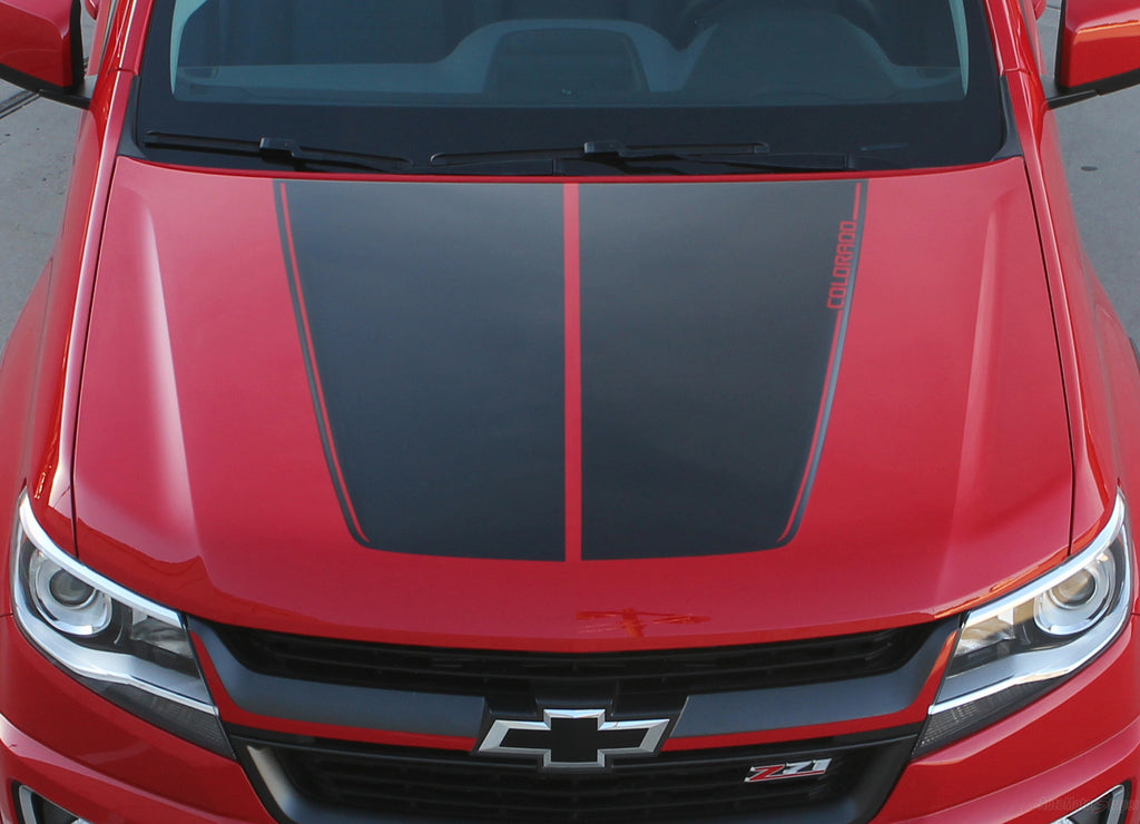 2015-2020 Chevy Colorado SUMMIT Split Hood Factory OEM Style Truck Racing Stripe Vinyl Graphics 3M Stripes Kit