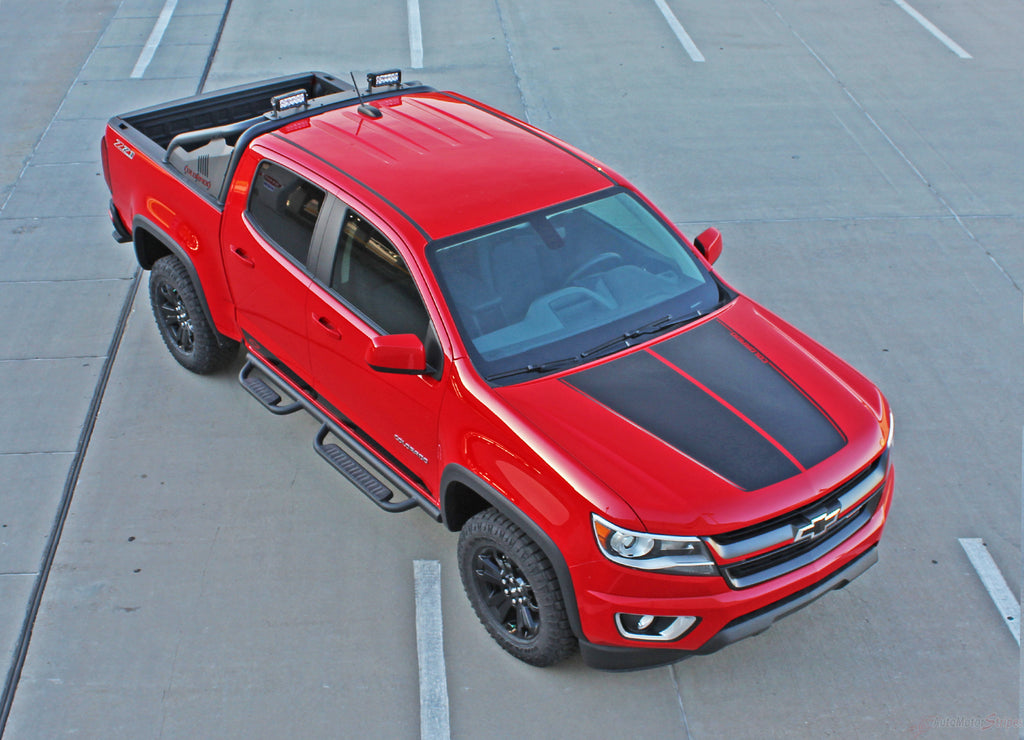 2015-2020 Chevy Colorado Hood Decals SUMMIT Split Hood Stripes Vinyl Graphics 3M Stripes Kit