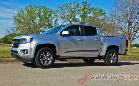 2015 2016 2017 2018 Chevy Colorado RATON Lower Rocker Panel Accent Factory Bodyside Style Vinyl Graphics 3M Stripes Kit