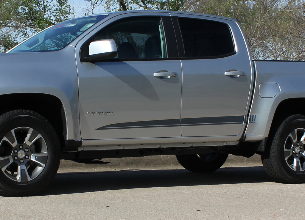 2015 2016 2017 2018 Chevy Colorado GMC Canyon RATON Crew Cab Lower Rocker Panel Accent Body Side Pickup Truck Vinyl Graphics 3M Stripes Kit