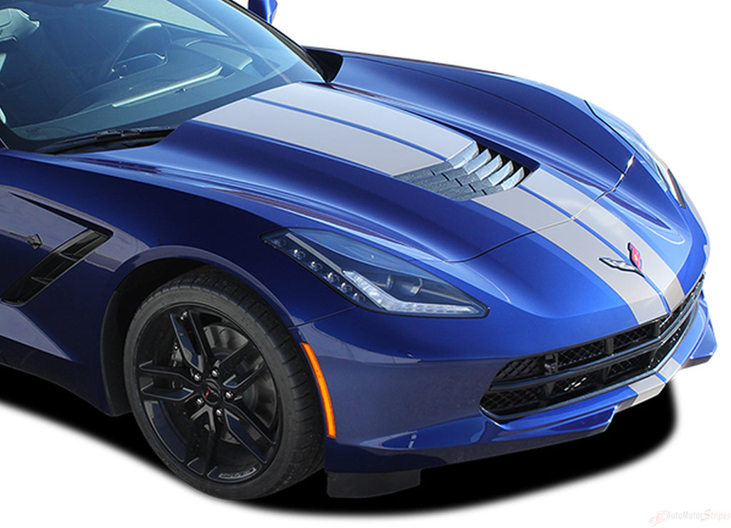 2014-2018 Chevy C7 Corvette Rally Racing Stripes Bumper Hood Roof Trunk Vinyl Graphics 3M Stripes Decal Kit