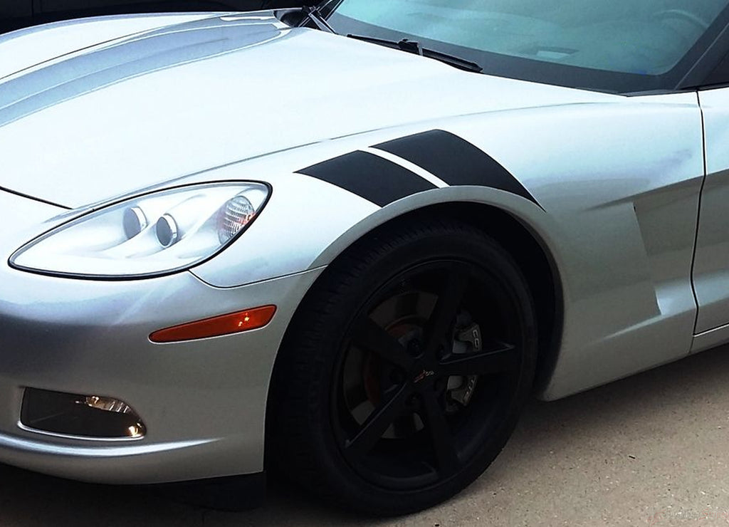 2005-2013 Chevy C6 Corvette Hash Marks Double Bar Hood and Fender Vinyl Graphics 3M Stripes Kit