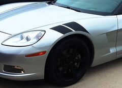 2005-2013 Chevy Corvette C6  Hash Marks Double Bar Hood and Fender Vinyl Graphics 3M Stripes Kit