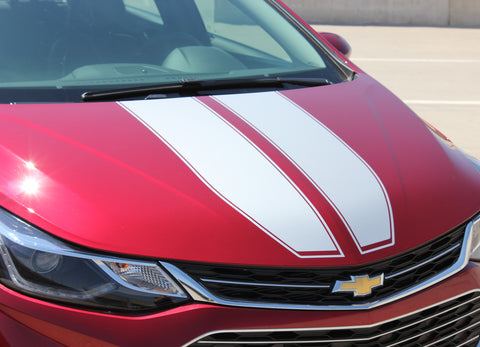 2016 2017 2018 2019 Chevy Cruze Drift Rally Hood Racing Stripes Decals Vinyl Graphics 3M Kit