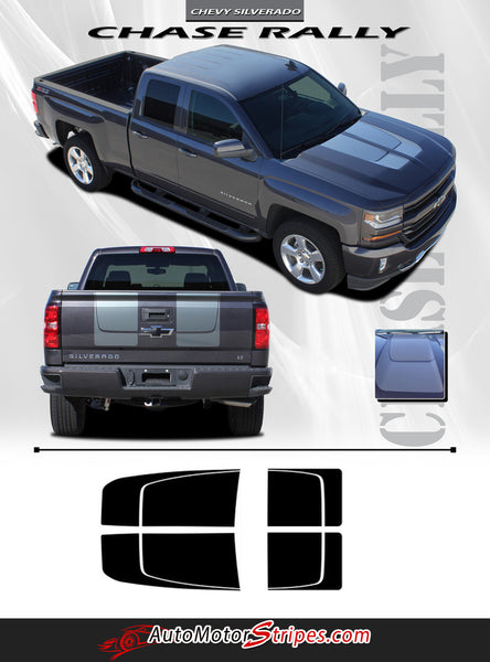 2016-2018 Chevy Silverado Racing Stripes Vinyl Graphic ...