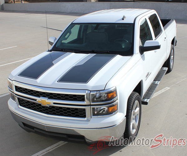 Ford Fusion White And Black >> 2014-2015 Chevy Silverado 1500 Rally Plus Hood Racing Stripes Decals | Auto Motor Stripes Decals ...