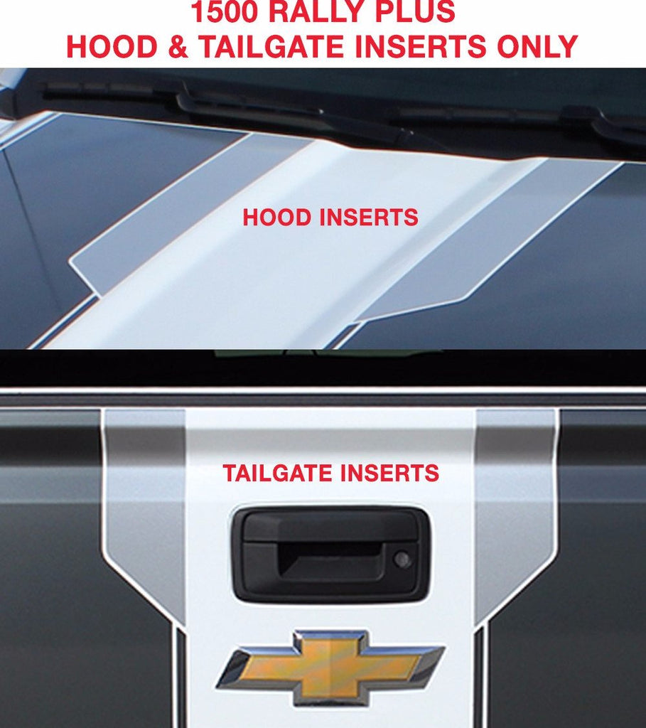 2014-2015 Chevy Silverado 1500 Rally Plus - HOOD & TAILGATE INSERTS ONLY (NOT FULL KIT)