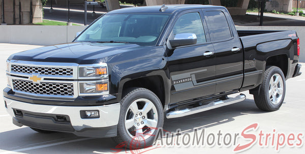 2014-2017 Chevy Silverado Shadow Lower Truck Door Vinyl ...