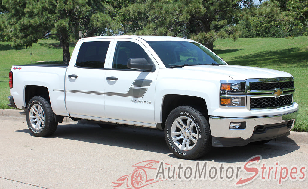 2007-2017 Chevy Silverado Speed XL Truck Side Door Hockey Vinyl Graphics 3M Stripes Kit