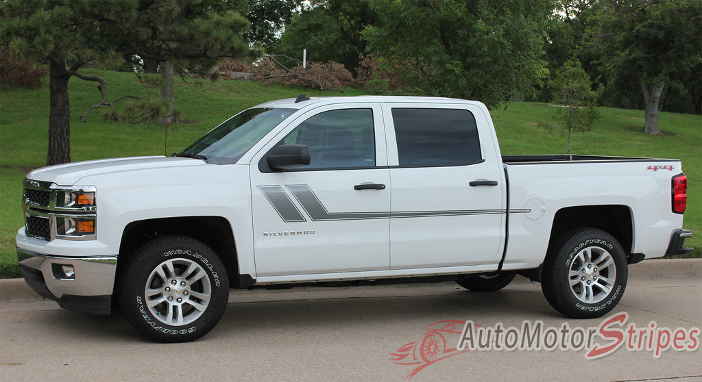 2000-2017 Chevy Silverado Track XL Truck Side Door Hockey Vinyl Graphics 3M Stripes Kit