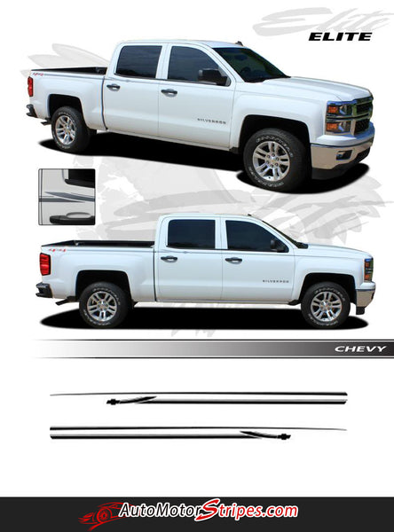 2013-2018 Chevy Silverado Stripes Elite Truck Side Body Pin Striping | Auto Motor Stripes Decals ...