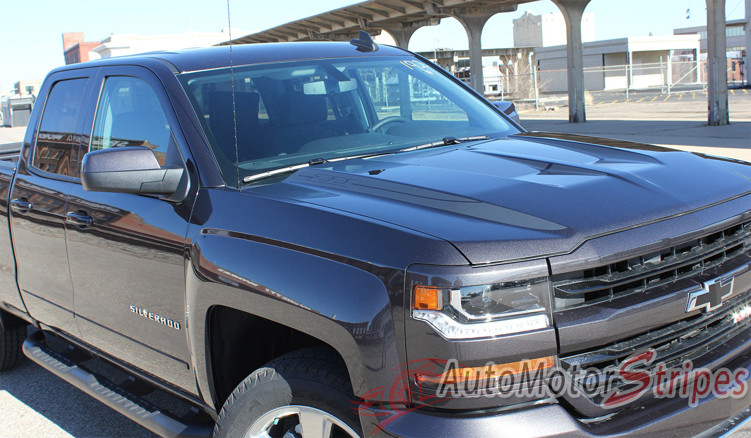 2016-2017 Chevy Silverado 1500 Lateral Spikes Double Hood Spear Hood A | Auto Motor Stripes ...
