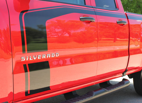 2016-2017 2018 Chevy Silverado Flow Special Edition Rally Style Truck Hood Racing Stripes Side Door Vinyl Graphics Package