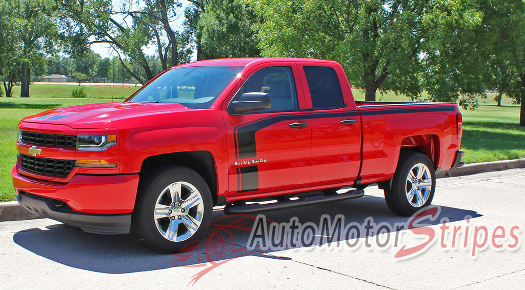 2016-2017 Chevy Silverado Flow Special Edition Rally Style Truck Hood Racing Stripes Side Door Vinyl Graphics Package