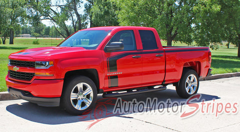 2016-2017 Chevy Silverado Flow Special Edition Rally Style Truck Hood Racing Stripes Side Door Vinyl Graphics Package - Driver Side Door View