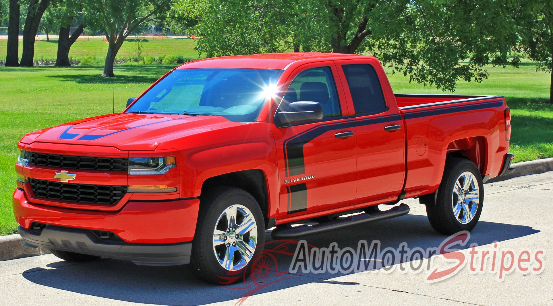 2016 2017 chevy silverado flow special edition rally style truck hood auto motor stripes. Black Bedroom Furniture Sets. Home Design Ideas