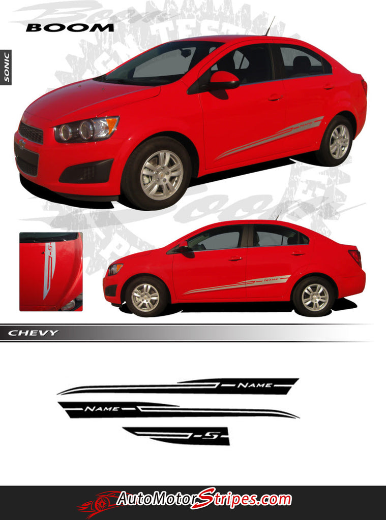 2012-2016 Chevy Sonic Boom Hood Graphic Lower Rocker Panel Sides Vinyl 3M Stripes Kit