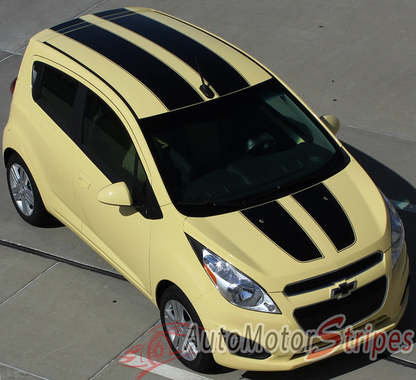 2013-2016 Chevy Spark Racing Stripes Rally Hood Decals Vinyl Graphics | Auto Motor Stripes ...
