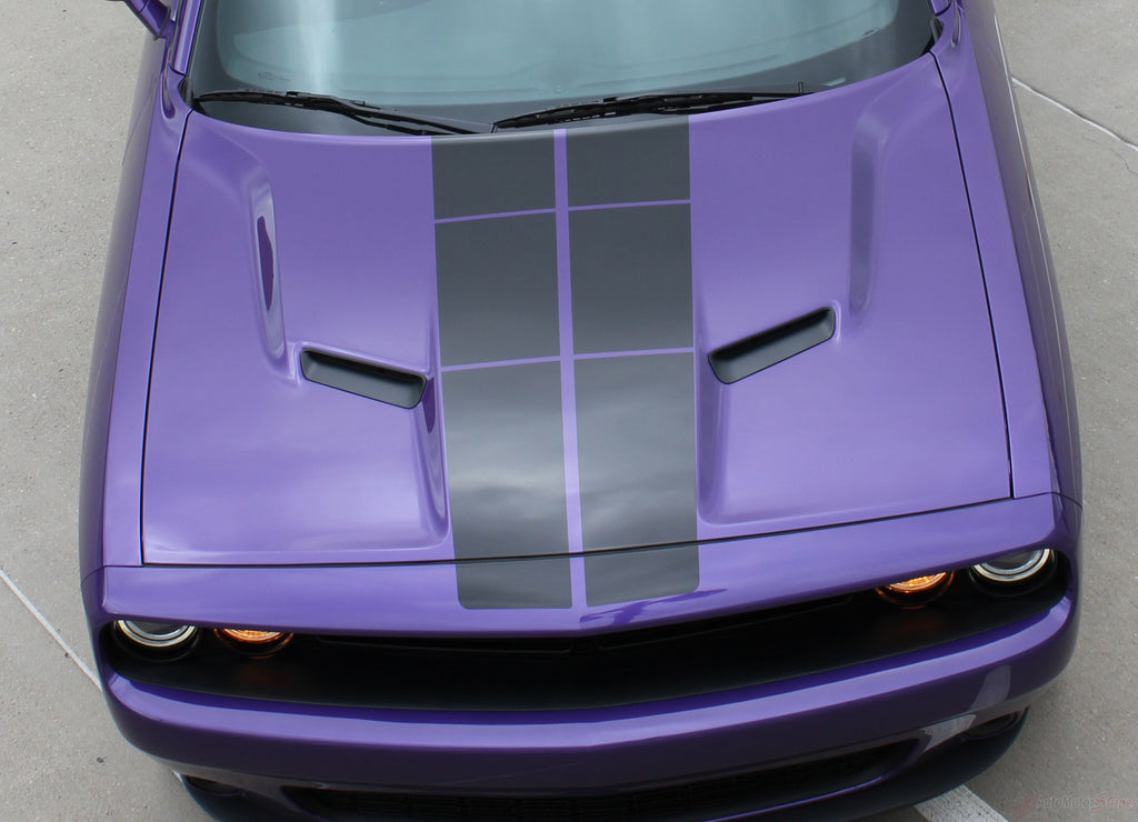 2008-2021 Dodge Challenger Pulse Rally Racing Stripes Strobe Style 10 inch Vinyl Graphics Striping Decal Package