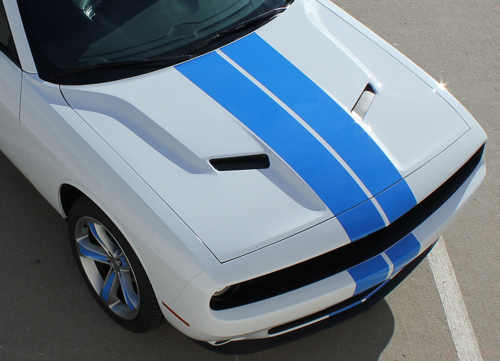 2015-2019 Dodge Challenger Rally Stripe 15 Mopar Factory OEM Style 10 inch Dual Racing Vinyl Graphics 3M Decals Package