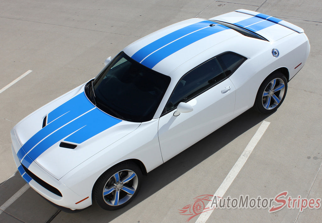2015-2017 Dodge Challenger Winged Rally Stripes 15 Mopar Factory Style Wide Hood Racing Vinyl Graphics 3M Decals Package