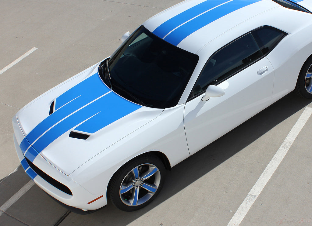2015-2018 Dodge Challenger Winged Rally Stripes 15 Mopar Factory Style Wide Hood Racing Vinyl Graphics 3M Decals Package