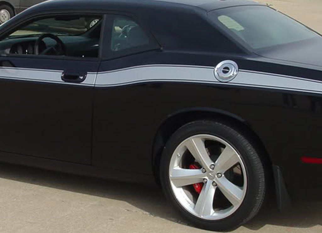 2008-2010 and 2011-2020 Dodge Challenger Classic Track Mopar Factory Style Side Vinyl Graphics 3M Decals Package