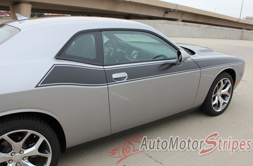 2011-2017 Dodge Challenger Pursuit T/A 392 Side Stripe Side Door Panel Body Line Vinyl Graphics Stripe Package