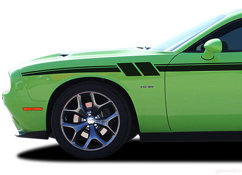 2011-2020 Dodge Challenger Fury Mopar Factory Style Strobe Vinyl Graphics Stripes 3M Decals Package
