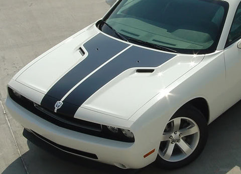 2008-2014 Dodge Challenger Split Hood Mopar Factory Style Vinyl Graphics 3M Decals Package