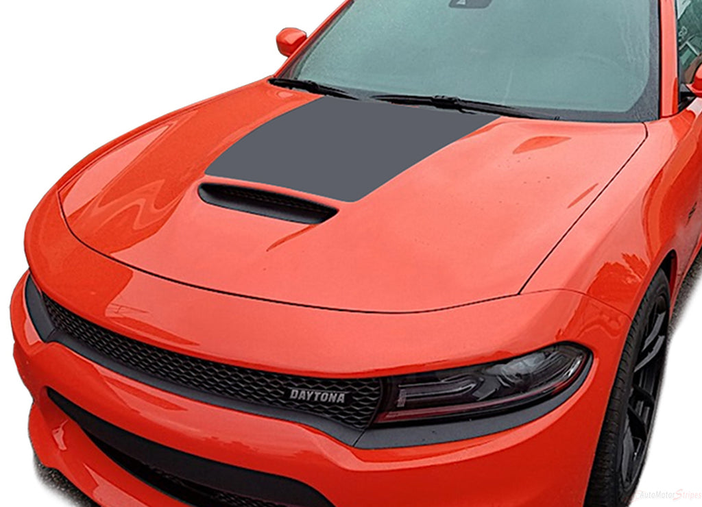 2015-2019 Dodge Charger Daytona Center Hemi Vinyl Hood Rally Stripes 3M Graphic Decal R/T SRT 392 Hellcat Mopar Style Kit