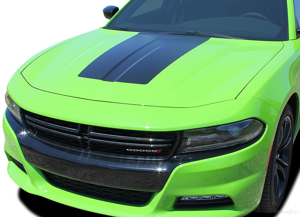 2015-2018 Dodge Charger Center Hood Vinyl Rally Stripes 3M Graphic Decal Factory Quality Mopar Style Kit