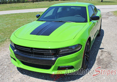2015 2016 2017 Dodge Charger Center Hood Vinyl Rally Stripes 3M Graphic Decal Factory Quality Mopar Style Kit - Side Driver View