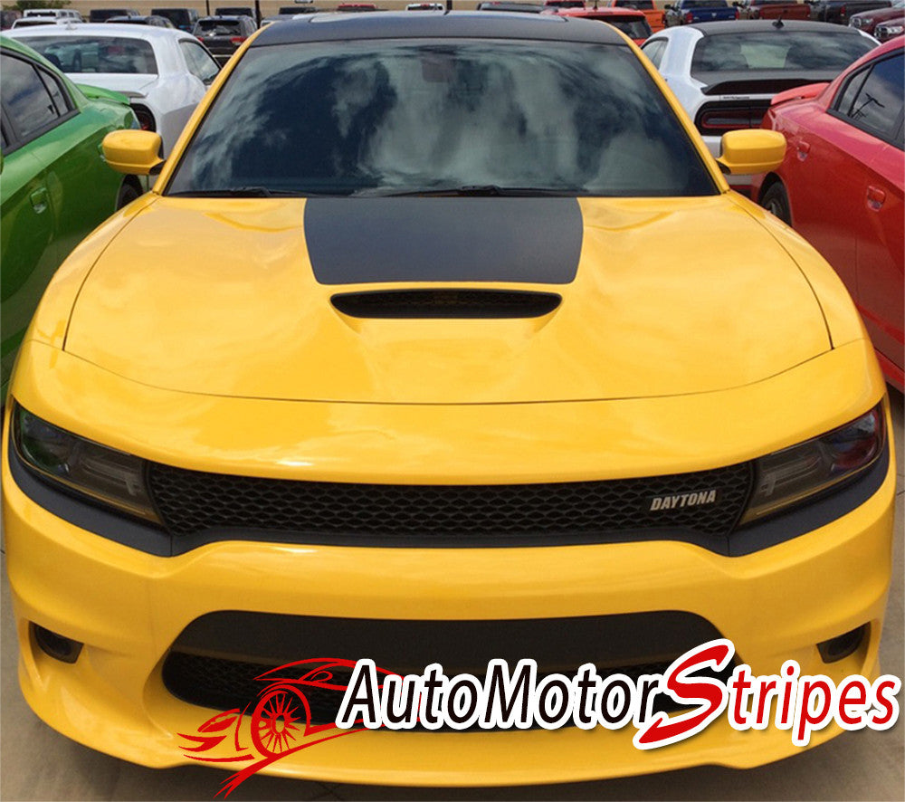 2015-2017 Dodge Charger Daytona Center Hemi Vinyl Hood Rally Stripes 3M Graphic Decal R/T SRT 392 Hellcat Mopar Style Kit