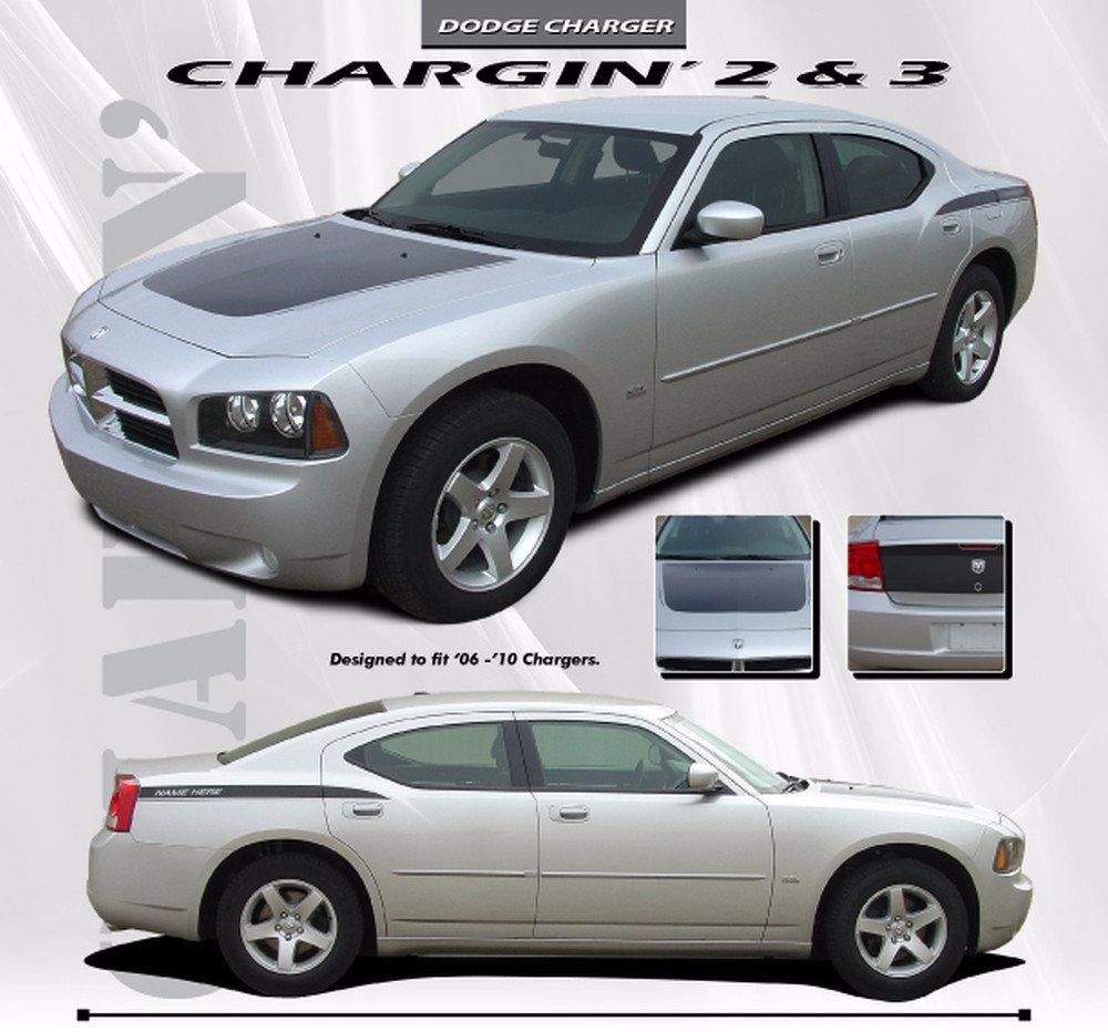 2006-2010 Dodge Charger Chargin 3 Hood Rear Quarter Hemi Daytona Style Vinyl Stripes 3M Decals Kit
