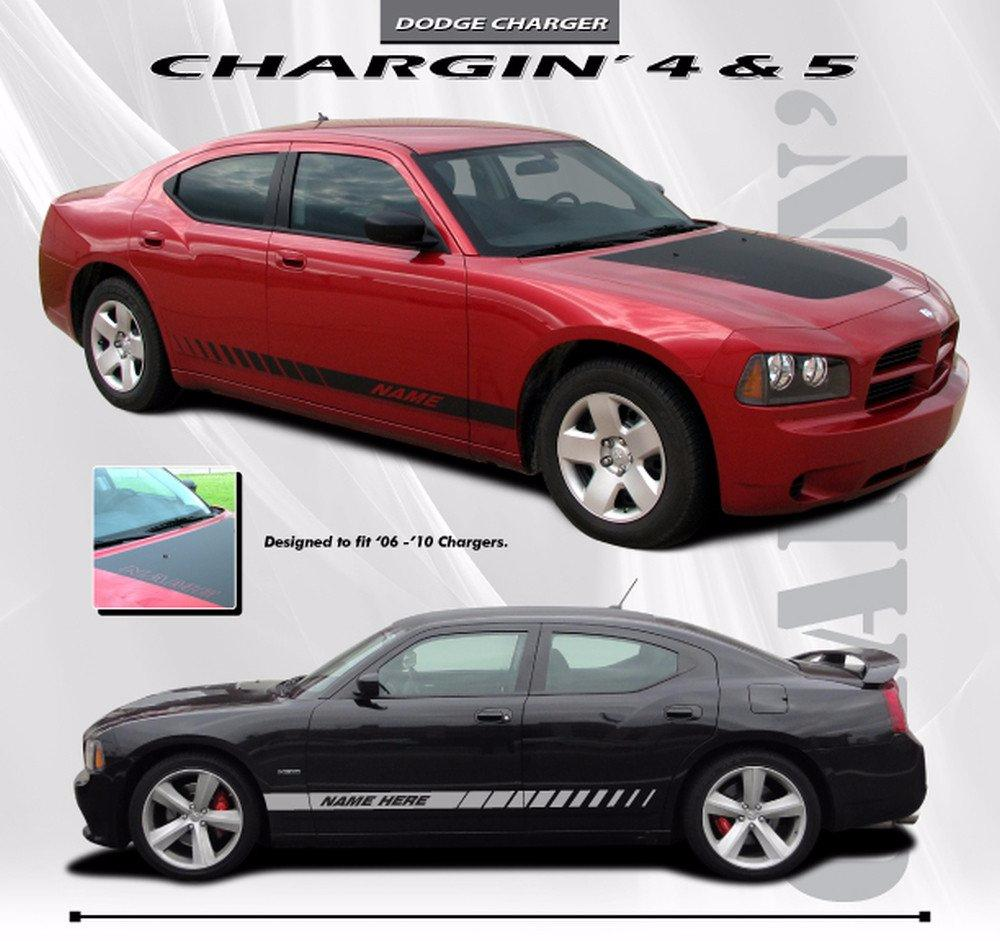 2006-2010 Dodge Charger Chargin 4 Hood Lower Rocker Strobe Hemi Daytona Style Vinyl Stripes 3M Decals Kit