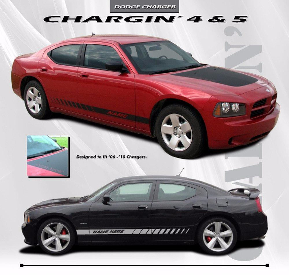 2006-2010 Dodge Charger Chargin 5 Hood Lower Rocker Strobe Vinyl Stripes and Decals Kit