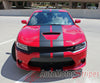 2015 2016 2017 Dodge Charger N-Charge Rally 15 Factory Quality Mopar Style Vinyl Racing Stripes 3M Graphic Kit - Front Hood View