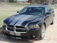 2011-2014 Dodge Charger N-Charge Rally Mopar Style Vinyl Graphic - Silver Metallic on Black Front View