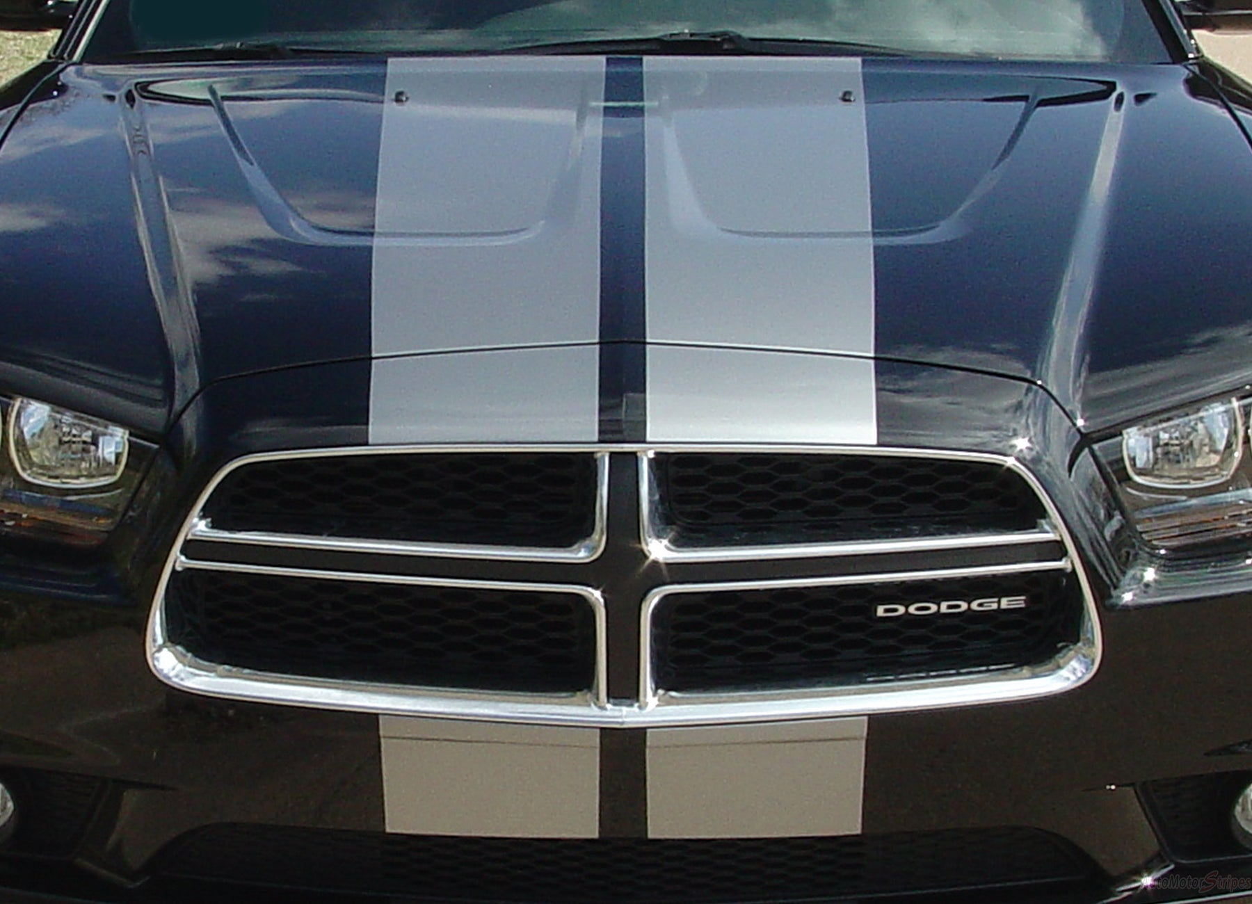 2011-2014 Dodge Charger Racing Stripes N-Charge Rally Hood Decals