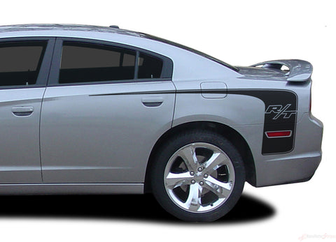 2011-2014 Dodge Charger Recharge Hockey R/T Quarter Panel Mopar Style Vinyl Graphics - R/T Matte Gloss Black