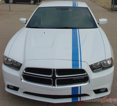 2011-2014 Dodge Charger E-Rally Mopar Style Offset Euro Rally Vinyl Graphic Racing Stripes - Front Close View Blue Stripes on White
