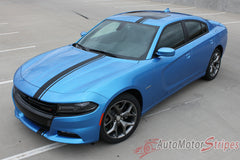 2015 2016 2017 Dodge Charger E-Rally Euro Style Vinyl Graphics Racing Stripes Kit - Wide Front View Gloss Black on Blue Paint